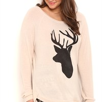 Plus Size Long Sleeve High Low Super Soft Top with Deer Screen