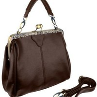 DANYA Vintage Clasp Frame Closure Top Handle Purse Satchel Handbag w/Detachable Shoulder Chain: Amazon.com: Clothing