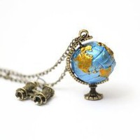 Amazon.com: Globe Necklace Earth Vintage Atlas World Explorer Binoculars Map Retro Pendant: Jewelry