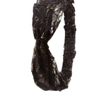 Knotted Metallic Lace Head Wrap by Charlotte Russe - Black Combo