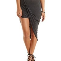 Draped Asymmetrical Wrap Skirt by Charlotte Russe - Charcoal