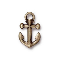 1 TierraCast Anchor Charm - Brass Ox Plated Pewter Charm - 20 mm x 12 mm