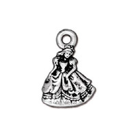5 TierraCast Princess Charms - Silver Plated Pewter Fairy Tale Charms - 19 mm x 13 mm