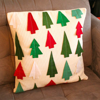 """Christmas Tree Forest Pillow Cover 18X18"""""""
