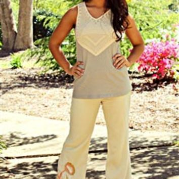 Missy Robertson | Parrot Bay Palazzo Pants in cream