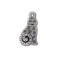 5 TierraCast Spiral Cat Charms - Silver Plated Pewter  - 20 mm x 11 mm