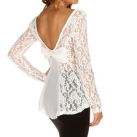 Ivory Top It Off With A Bow Lace Top