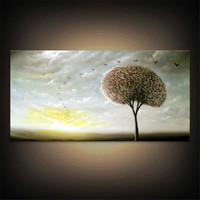 art original abstract painting abstract minimalist impressionist tree painting Original Painting modern painting huge 24 X 48 original retro