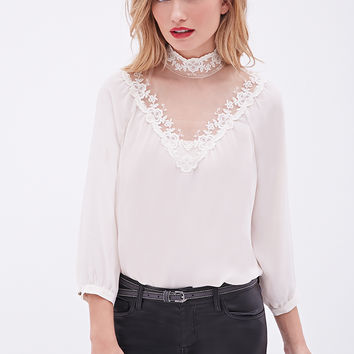 LOVE 21 Lace Accented Blouse Cream