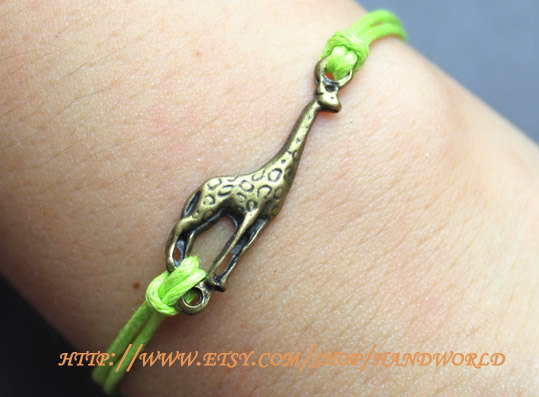 antique bronze giraffe bracelet bangle cuff bracelet  jewelry  bracelet green rope bracelet