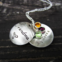 Personalized Grandmother Necklace-Hand Stamped Sterling Silver Locket w/ Birthstones-Grandmother Gift-Grandmother Jewelry-Birthstone Jewelry