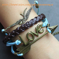 bronze arrow bracelet the swallow bracelet bronze love bracelet charm bracelet brown leather bracelet