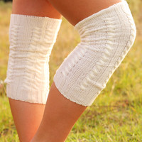 Cozy & Cute Leg Warmers: Cream - One