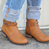 RESTOCK: Be My Stud Booties: Cognac