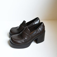 Vintage 90s Chunky Heel Shoes Brown Shoes Platform Shoes Goth Chunky Shoes Brown Mudd Shoes Rave Club Kid Grunge Size 6