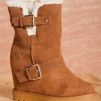 Cozy Up BROOKS-02 Shearling Lined Hidden Wedge Faux Suede Booties - Tan