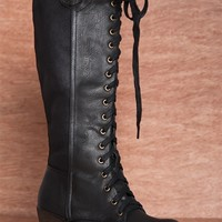 Jejune at Noon JOYCE-01 Tall Faux Leather Lace Up Wedge Boots - Black