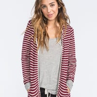Full Tilt Essential Womens Cozy Stripe Zip Front Hoodie Burgundy  In Sizes