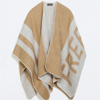 Two-tone double-sided poncho