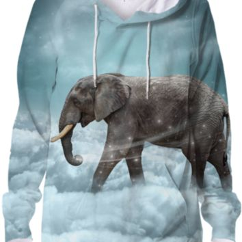 Walk With the Dreamers (Elephant in the Clouds) Unisex Hoodie Sweatshirt created by soaringanchordesigns | Print All Over Me