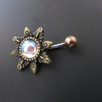 Rainbow Mirrored Glass Opal Starburst Belly Button Ring Navel Piercing Bronze Sunburst Sun Stud Bar Barbell Star Burst