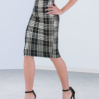 Clad In Plaid Metallic Pencil Skirt