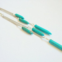 Long Turquoise Howlite Earrings