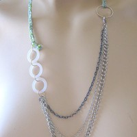 Light Blue and Spring Green Braided Necklace