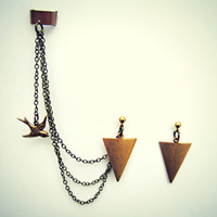 arrow head earrings and ear cuff with dangling bird
