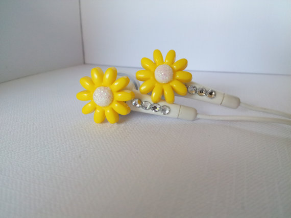 Petite Yellow Daisy Flower earbuds with Swarovski crystals