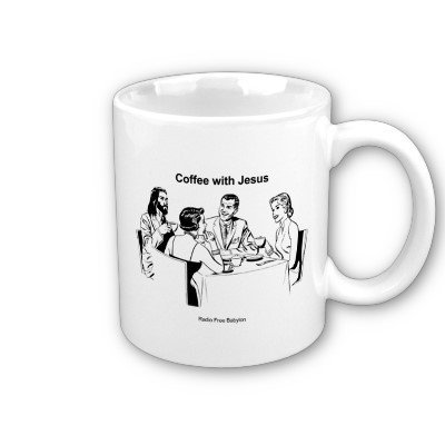 Coffee With Jesus Characters Mug from Zazzle.com