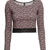 H&M - Lace-trimmed Jersey Top - Black/small floral - Ladies