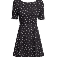 H&M - Patterned Dress - Black/small floral - Ladies