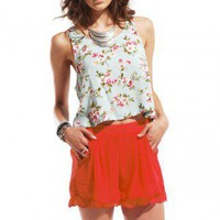 Scallop Hem Play Shorts in Tomato