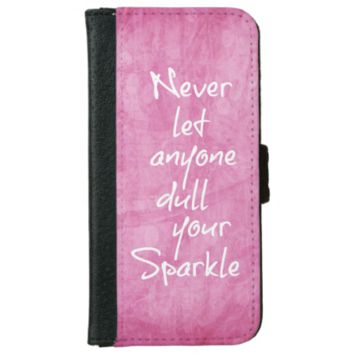 Pink Girly Sparkle Quote iPhone 6 Wallet Case