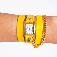 Chained Patent Wrap Watch - Yellow - NASTY GAL
