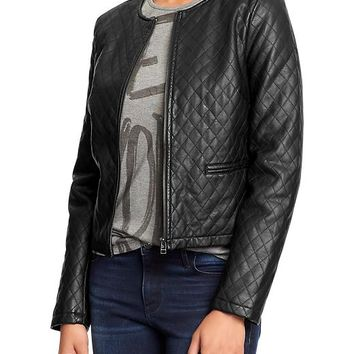 Women's Faux-Leather Quilted Jackets