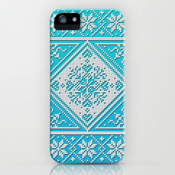 Scandinavian Snowflake Pattern with Aqua and Turquoise iPhone & iPod Case by Fischer Fine Arts