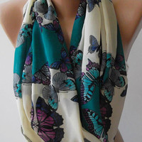 Dance of the Colors Collection ...Butterfly Patterned - Infinity - Loop - Circle - Elegant / Feminine - Summer - Shawl - Scarf