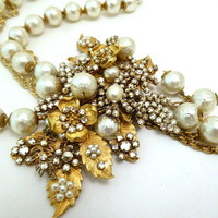 Vintage Signed Miriam Haskell 2-Strand Faux Pearl Pendant Necklace