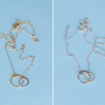 Double Ring Mixed Metal Necklace