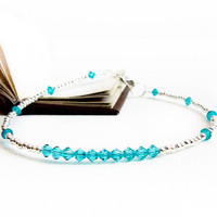 Blue zircon silver anklet, thin beaded ankle bracelet, Beach wedding
