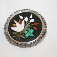 Large Micro Mosaic Brooch Pietra Dura Inlay Sterling Filigree 1930s Jewelry