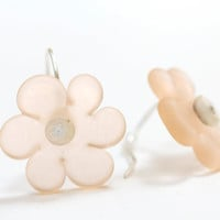 Sea Glass Flower Bead Earrings Handmade Lampwork Sterling Silver Peach Orange