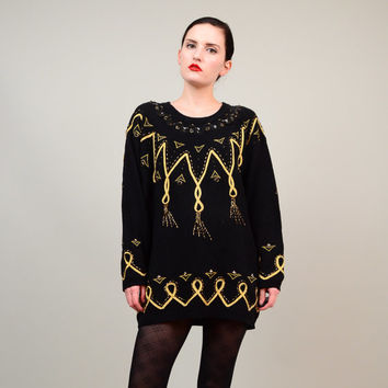 80s Black Metallic Gold Embellished Sweater 1980s Cotton Knit Jumper  Holiday Trophy Beaded Tunic Top Small S
