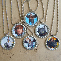 Set of 6 How To Train Your Dragon Inspired Party Favors Necklaces OR Zipper Pulls - YOU CHOOSE