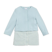Girls Wool Twill Crochet Two-In-One Coat, Light Blue