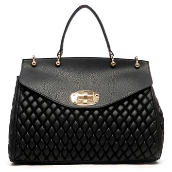 HauteChicWebstore Women's Quilted Flap Over Satchel in Black at www.shophcw.com