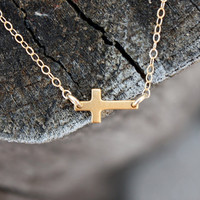 Gold Sideways Cross Necklace - 14K Gold-Plated Sterling Silver Cross . 14K Gold-Filled Chain . Simple . Feminine . Summer Fashion and Style