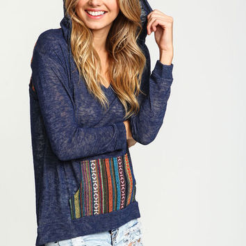 TRIBAL EMBROIDERED HOODIE TOP